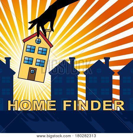 Home Finder Indicates Housing Residence 3D Illustration