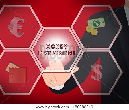 Money Investment Displays Trade Investing 3D Illustration