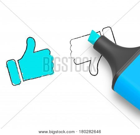 Thumbs Up Indicates Approved Status 3D Illustration