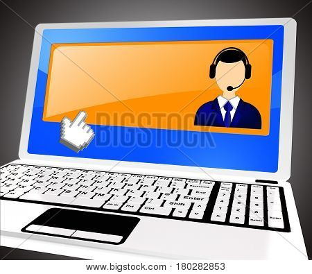 Helpdesk Voip With Blank Space 3D Illustration