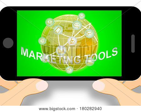 Marketing Tools Meaning Promotion Apps 3D Illustration