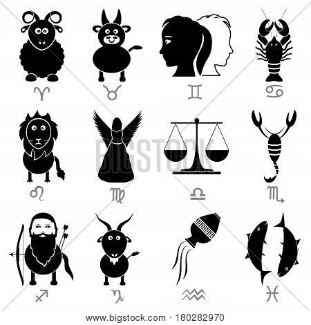 Zodiac Signs For Astrology Set Of Cartoon Animals Icons Eps10