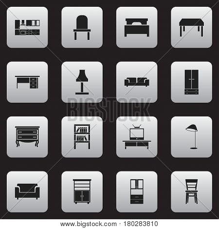 Set Of 16 Editable Interior Icons. Includes Symbols Such As Tv, Wardrobe, Couch And More. Can Be Used For Web, Mobile, UI And Infographic Design.
