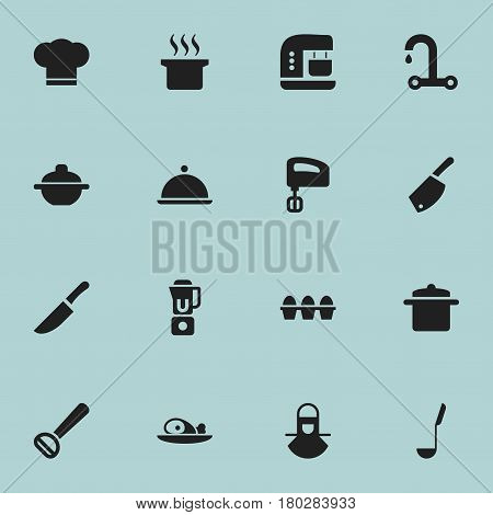 Set Of 16 Editable Food Icons. Includes Symbols Such As Rocker Blade, Mixer, Salver And More. Can Be Used For Web, Mobile, UI And Infographic Design.