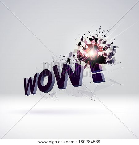 Wow exploding sign for party or commercial sale offering