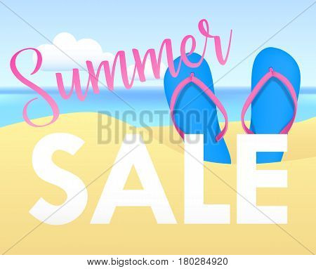 Summer sale tamplate design banner. Summer sale  Illustration with flip flops and beach. Vector illustration  background Summer sale