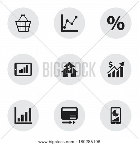 Set Of 9 Editable Logical Icons. Includes Symbols Such As Trading Purse, Phone Statistics, Revenue And More. Can Be Used For Web, Mobile, UI And Infographic Design.
