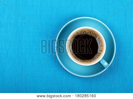 Full Black Coffee In Blue Cup Close Up Top View