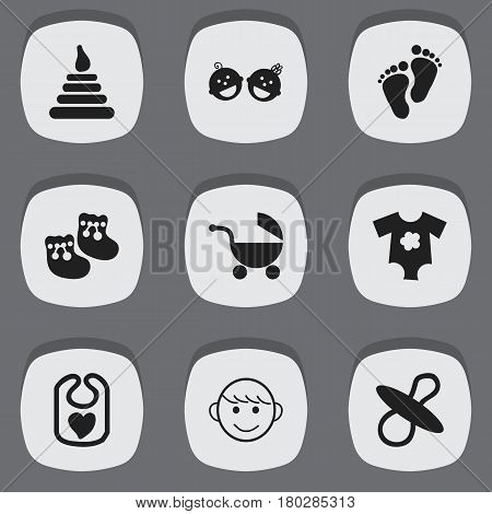 Set Of 9 Editable Kid Icons. Includes Symbols Such As Small Dresses, Stroller, Twins Babies And More. Can Be Used For Web, Mobile, UI And Infographic Design.