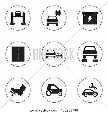 Set Of 9 Editable Car Icons. Includes Symbols Such As Treadle, Auto Service, Race And More. Can Be Used For Web, Mobile, UI And Infographic Design.