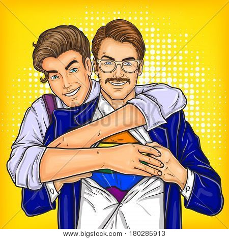 pop art illustration of a homosexual couple oppressed prejudices