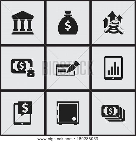 Set Of 9 Editable Investment Icons. Includes Symbols Such As Coins Raise, Banknote, Bucks And More. Can Be Used For Web, Mobile, UI And Infographic Design.