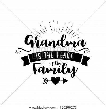 Best grandma handwritten in black brush ink lettering text, typographic design badges in calligraphy style, vector illustration on white background