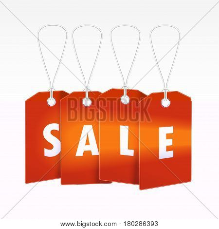 Red Tag, label with word sale for seasons design. Vector illustration tamplate