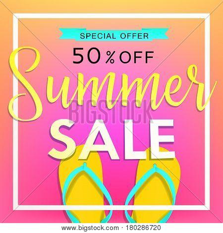 Summer sale tamplate design banner. Illustration Summer sale with flip flops and beach. Vector illustration Summer sale background