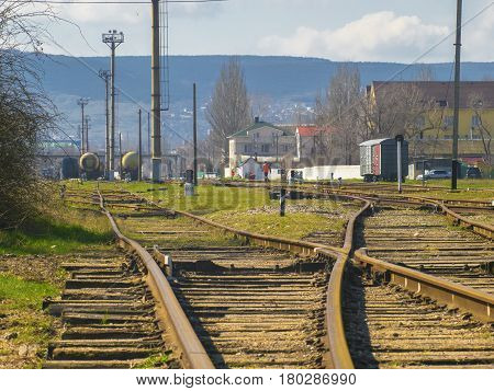 A lot of rails at the old railway station