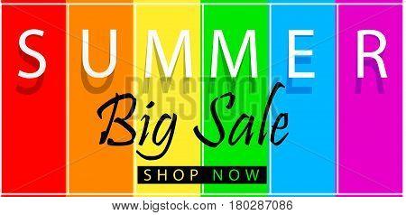 Summer big sale banner on spectrum colorfull background. Vector illustration template design