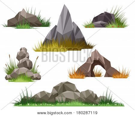 Rock and stone set isolated on white background. Vector stones and pebbles in green grass vector illustration