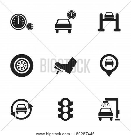 Set Of 9 Editable Vehicle Icons. Includes Symbols Such As Tuning Auto, Pointer, Stoplight And More. Can Be Used For Web, Mobile, UI And Infographic Design.