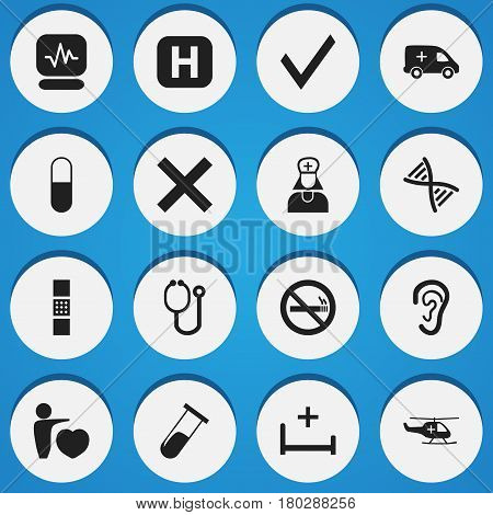 Set Of 16 Editable Clinic Icons. Includes Symbols Such As Clinic Room, Mark, Medical Aviation And More. Can Be Used For Web, Mobile, UI And Infographic Design.