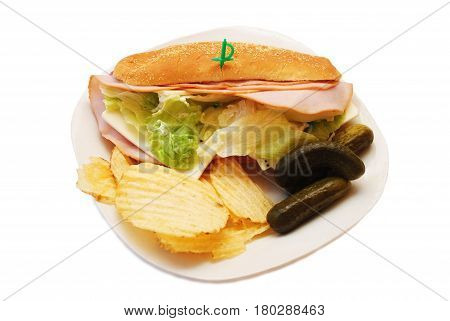 Sub Sandwich Served as a Cold Lunch