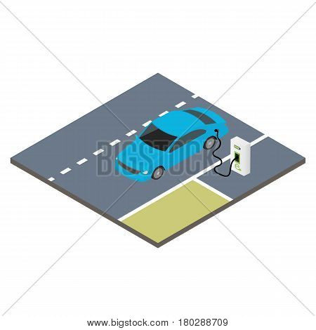 Isometric icon electric car. Sustainable transport. Vector illustration