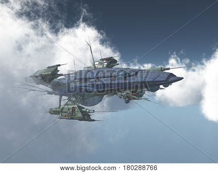 Computer generated 3D illustration with a huge spacecraft between the clouds