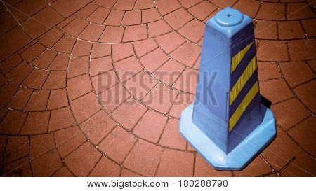 Blue Square Funnel Or Traffice Cone On The Road Sign Drive Be Careful Or No Parking On Concrete Bloc