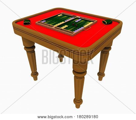 Computer generated 3D illustration with a backgammon table isolated on white background