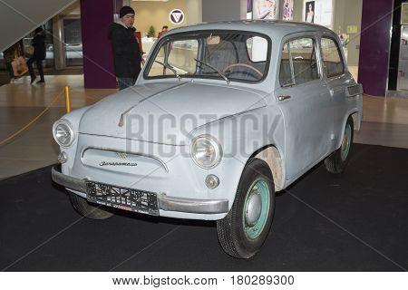 Moscow, Russia - April 02, 2017: Zaz-965 Zaporozhets Cossack Minicar, Soviet Union 1960. Retro Car E