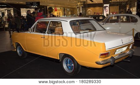 Moscow, Russia - April 02, 2017: Opel Kadett B, Germany 1972. Retro Car Exibition In Shopping Mall M