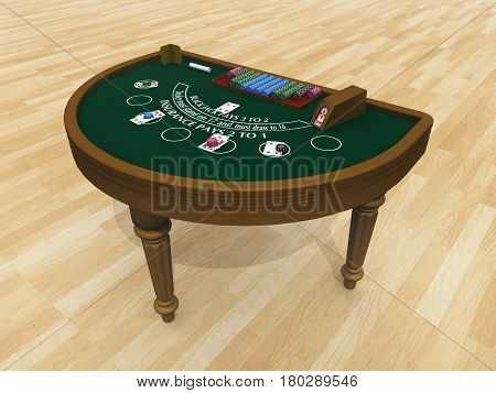 Computer generated 3D illustration with a blackjack table
