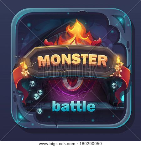Monster battle GUI icon - cartoon stylized vector illustration with text button game name.