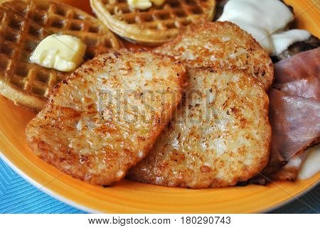 Hash Browns Served with Other Breakfast Foods