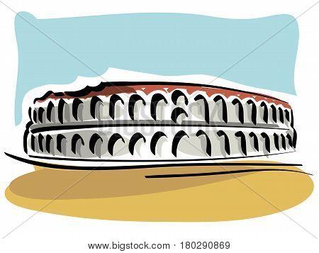 vector illustration of the Verona Arena, an ancien Roman Amphitheatre