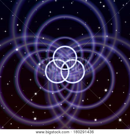 Magic crossed circles symbol spreads the mystic energy in spiritual space