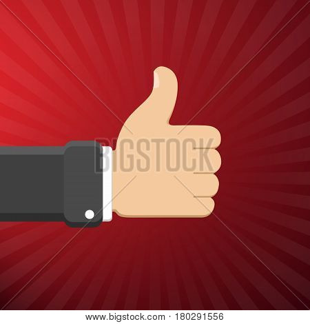 Thumb Up Symbol, Finger Up Vector Illustration. Like Gesture Hand