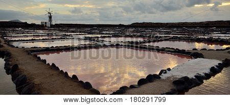 Salines of Tenefe at dawn, panoramic image, coast of Gran canaria, Canary islands