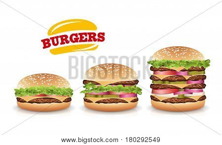 Fast Food Realistic Burger Vector. Set Beautiful Realistic Icons Of Fast Food