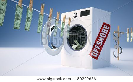 Concept of money laundering money hanging on a rope coming out of the washing machine. 3D illustration