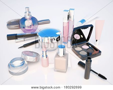 Makeup set on light background. Mascara lipstick pencil eye shadow perfume bottle comb concealer creams located on a light gray background. The view from the top. 3D illustration