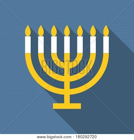 Vector menorah for Hanukkah, flat design with long shadow