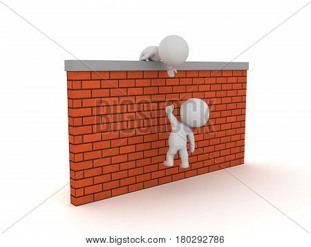 3D Character helping another one get over a wall. Image depicting how with cooperation people can conquer their limits.