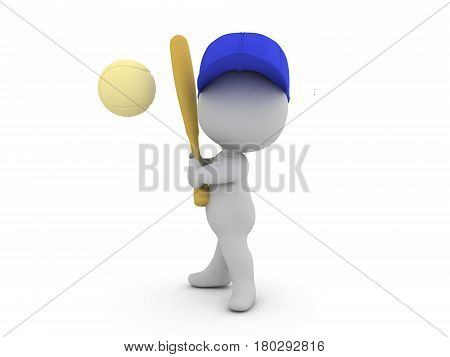 3D Character holding a baseball bat ready to strike the oncoming ball. The image depicts the position of the striker in a baseball game.