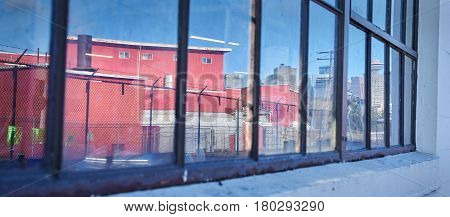 Railtown Reflection, Vancouver. Reflection of Vancouver's historic Railtown district. British Columbia, Canada.