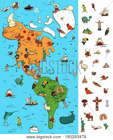 Map of America: Big Geography Visual Game. Locate isolated items (right margin) on a map. Illustration is in eps10 vector mode.
