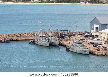 Docked Coast Guard Boats in Barbados Harbor