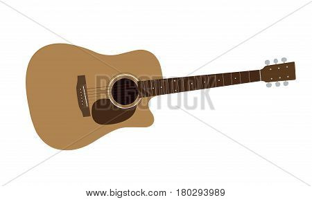 Colorful realistic and detailed illustration of a wood guitars with frets and strings isolated on white background - vector