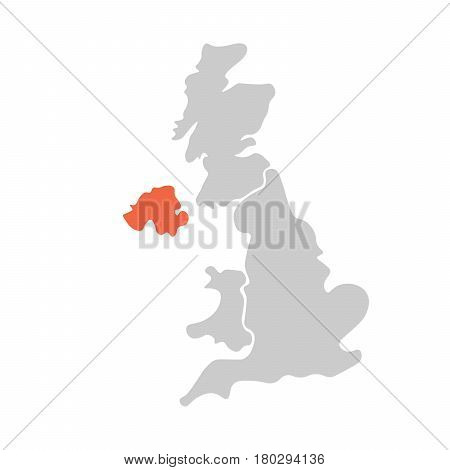 Simplified hand-drawn blank map of United Kingdom of Great Britain and Northern Ireland, UK. Divided to four countries with Northern Ireland red highlighted. Simple flat vector illustration.