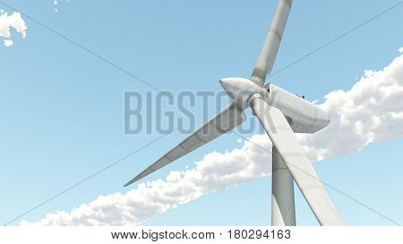 Computer generated 3D illustration with the bottom view of a wind turbine